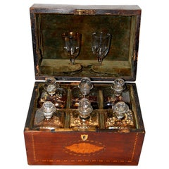 English Georgian Inlaid Liquor Box with Six Original Bottles and Two Glasses