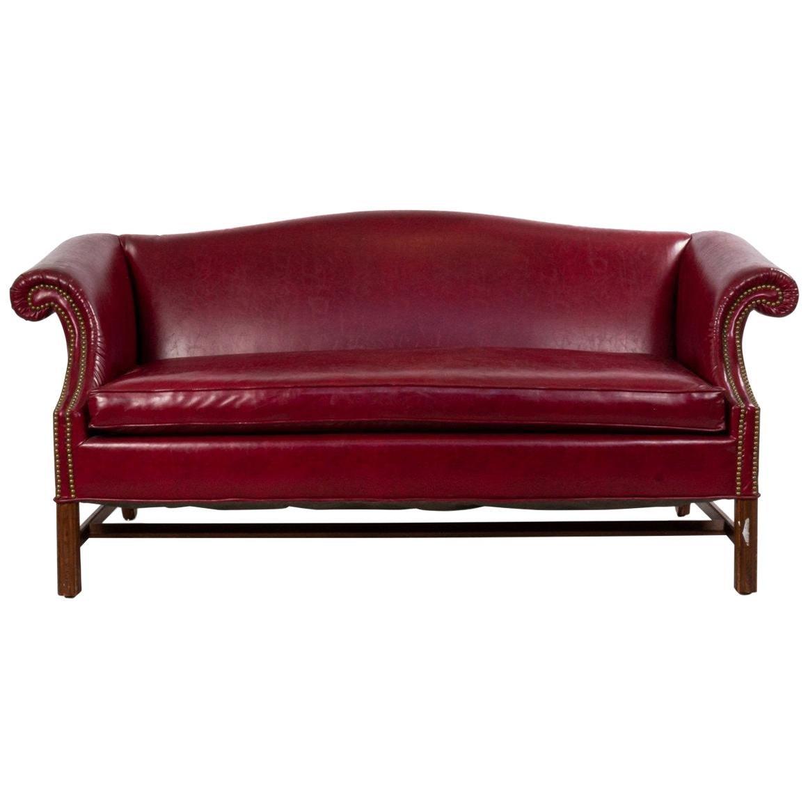 English Georgian Leather Chesterfield Sofa