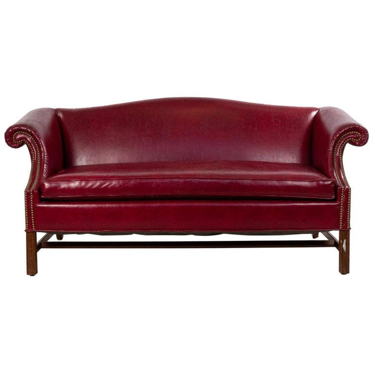 English Georgian Leather Chesterfield Sofa For Sale