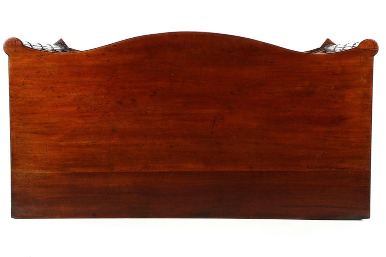 Pine English Georgian Mahogany Antique Serpentine Chest of Drawers, 19th Century For Sale