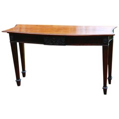 English Georgian Mahogany Bowfront Sideboard or Hall Table Fluted Legs and Skirt