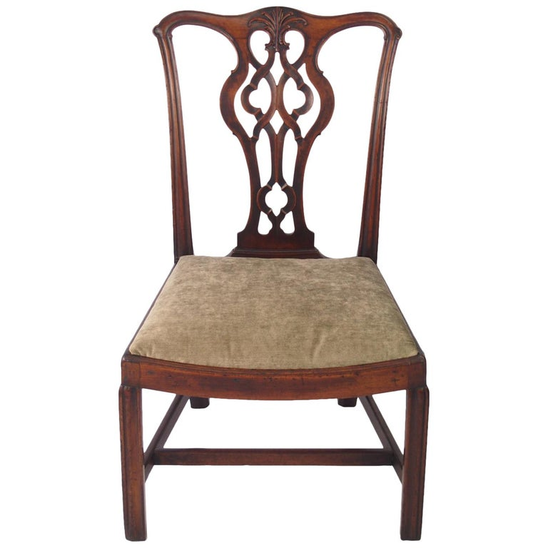 English Georgian Mahogany Chippendale Chair, circa 1780 Dining Desk Chair For Sale