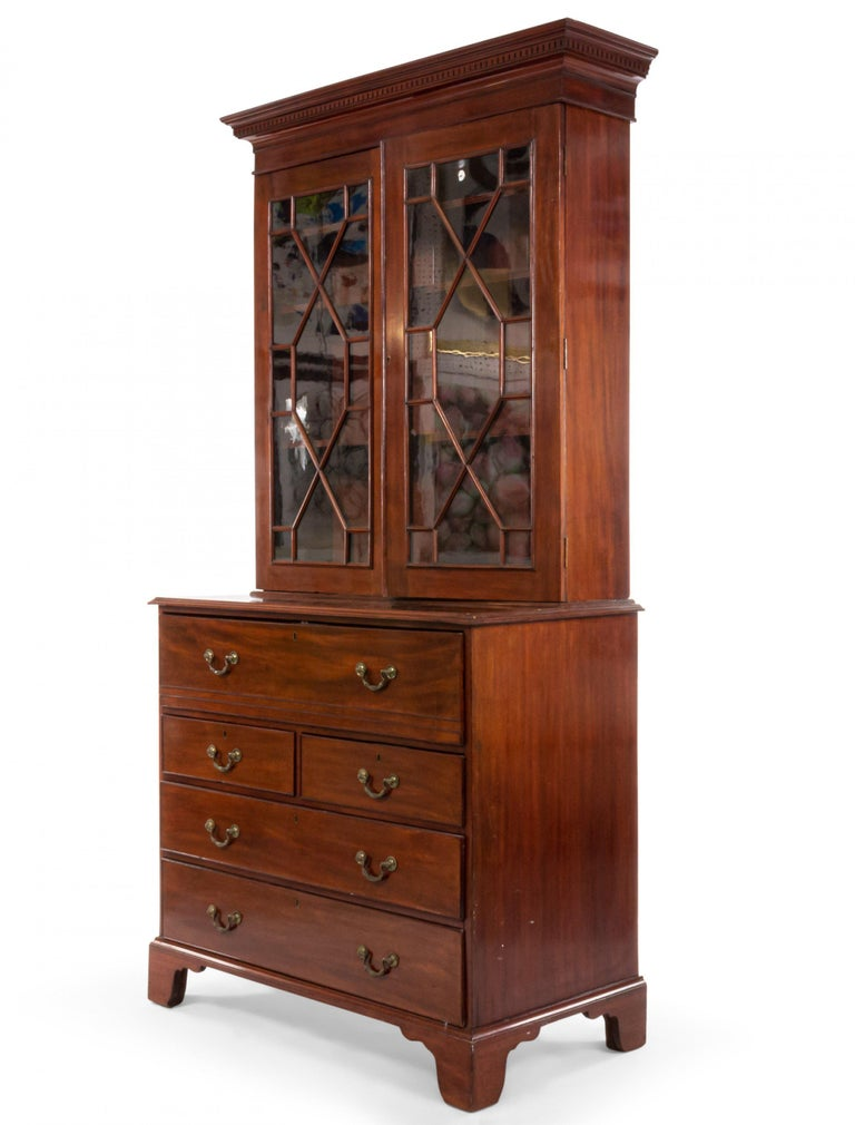 English Georgian mahogany secretary cabinet with a bottom section with drawers and an upper section with 2 lattice glass doors.