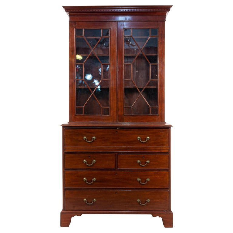 English Georgian Mahogany Secretary For Sale