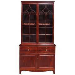 English Georgian Mahogany Stain Wood Inlaid Hinged Door China Press, Circa 1790
