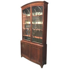 English Georgian Mahogany Two Part Bookcase or China Cabinet with Glazed Doors