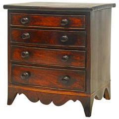 English Georgian Miniature Mahogany Bow Front Chest of Drawers