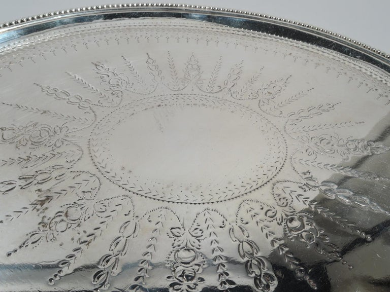Late 18th Century English Georgian Neoclassical Sterling Silver Salver Tray For Sale