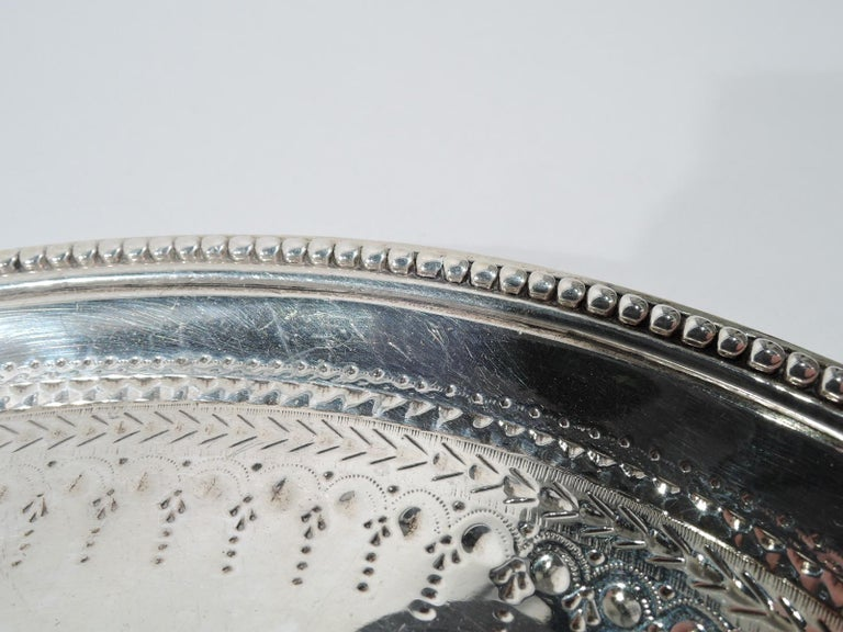 English Georgian Neoclassical Sterling Silver Salver Tray For Sale 1
