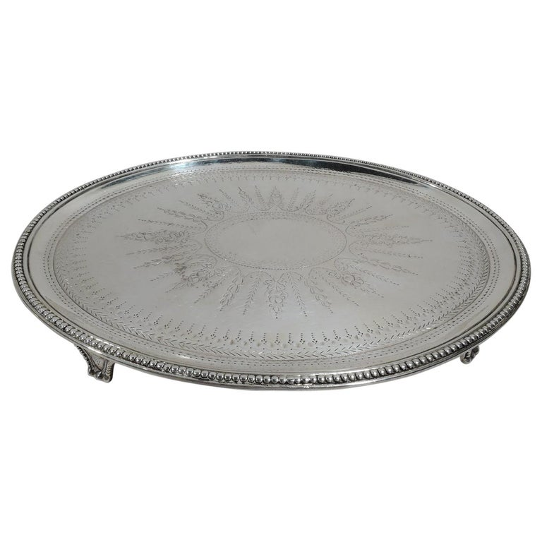English Georgian Neoclassical Sterling Silver Salver Tray For Sale