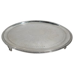 English Georgian Neoclassical Sterling Silver Salver Tray