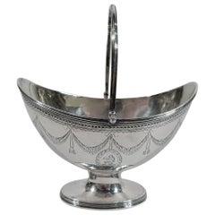 English Georgian Neoclassical Sugar Basket by Robert Hennell