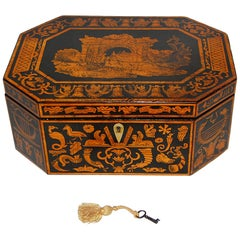 English Georgian Penwork Octagonal Box with Classical Scenes and Motifs
