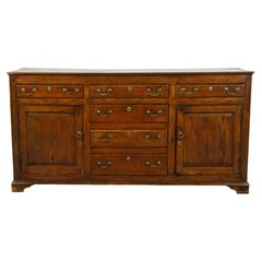 English Georgian Period 1800s Oak Dresser Base with Six Drawers and Two Doors