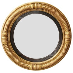 English Georgian Period 1820s Giltwood Convex Mirror with Twisted Rope Motifs