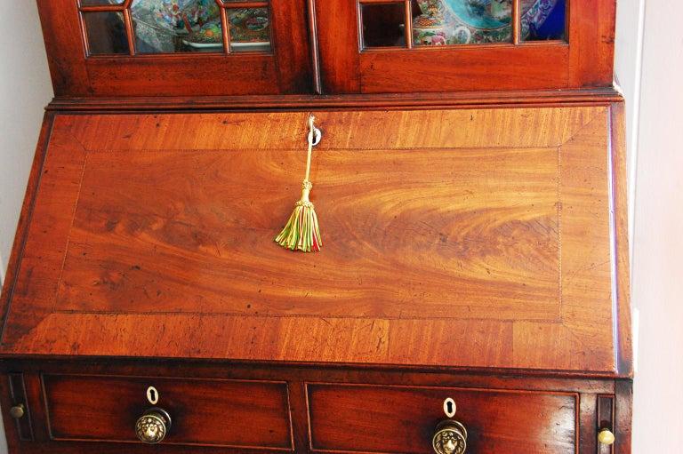 18th Century English Georgian Period Bureau Bookcase/Secretaire with Swans Neck Pediment For Sale