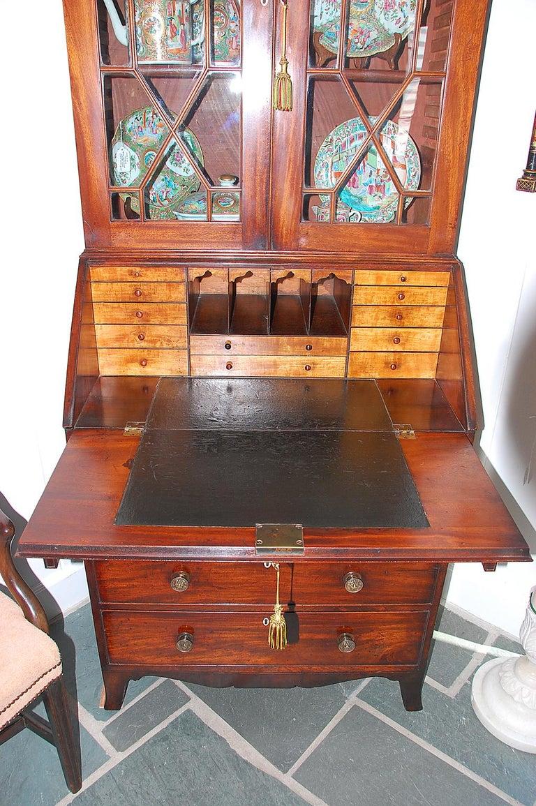 Mahogany English Georgian Period Bureau Bookcase/Secretaire with Swans Neck Pediment For Sale