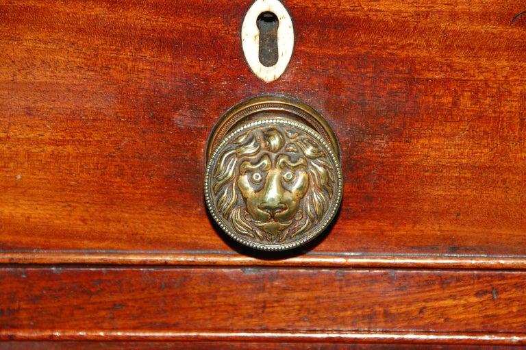 English Georgian Period Bureau Bookcase/Secretaire with Swans Neck Pediment For Sale 1