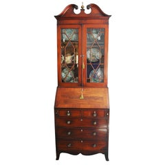 English Georgian Period Bureau Bookcase/Secretaire with Swans Neck Pediment