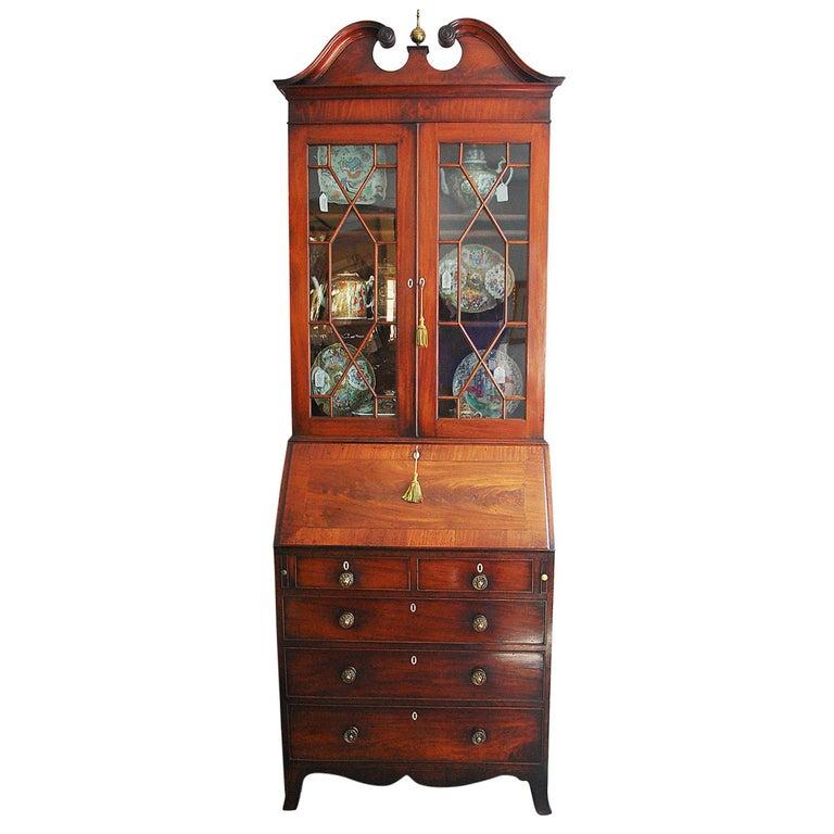 English Georgian Period Bureau Bookcase/Secretaire with Swans Neck Pediment For Sale