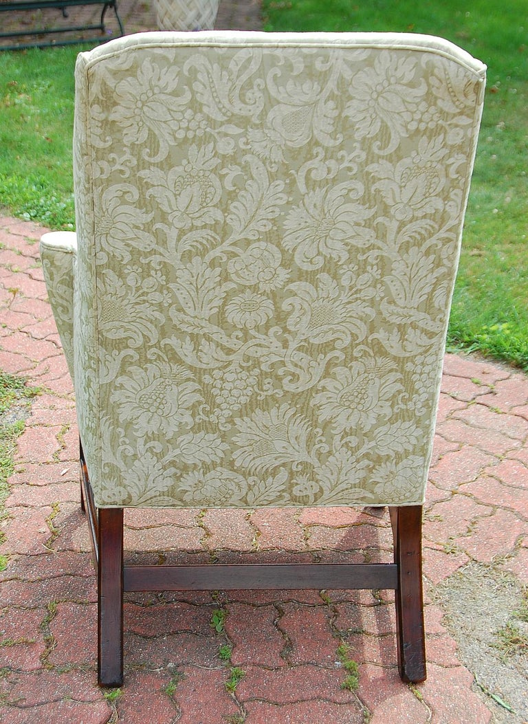 18th Century English Georgian Period Chippendale Mahogany Wing Chair For Sale