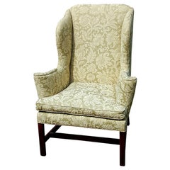 English Georgian Period Chippendale Mahogany Wing Chair with Square Molded Legs