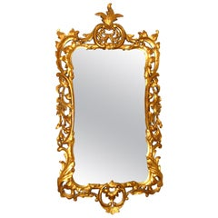 English Georgian Period Foliate Carved Gold Leaf Mirror