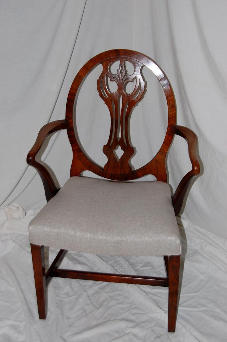 18th Century English Georgian Period Hepplewhite Armchair with Oval Back and Carved Splat For Sale