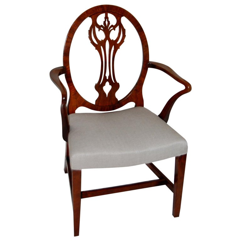 English Georgian Period Hepplewhite Armchair with Oval Back and Carved Splat For Sale