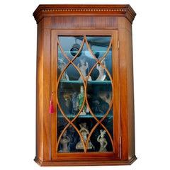 English Georgian Period Hepplewhite Inlaid Mahogany Hanging Corner Cupboard