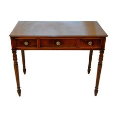 English Georgian Period Mahogany Dressing or Writing Table with Three Drawers