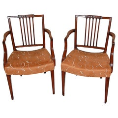 English Georgian Period Mahogany Sheraton Pair of Armchairs Square Carved Back