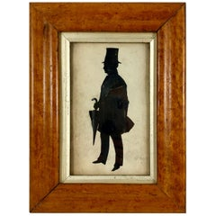 English Georgian Period Maplewood Framed Watercolor Silhouette, A Gentleman