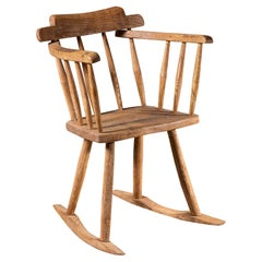 English Georgian Period Oak Rocking Chair, circa 1820