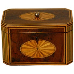 English Georgian Period Yew Wood Octagonal Tea Caddy with Fan and Column Inlays