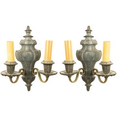 3 English Georgian Style Pewter and Brass Vasiform Wall Sconces
