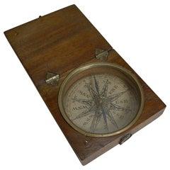 English Georgian Pocket Compass circa 1800 in Mahogany Case
