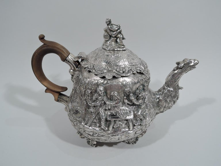 English Georgian Regency Teniers Tea Set by Edward Farrell In Good Condition For Sale In New York, NY