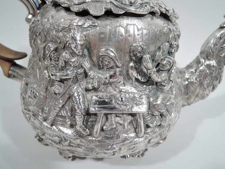 English Georgian Regency Teniers Tea Set by Edward Farrell For Sale 2