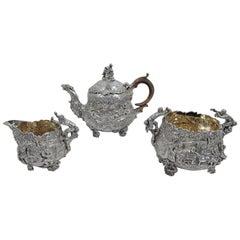 English Georgian Regency Teniers Tea Set by Edward Farrell