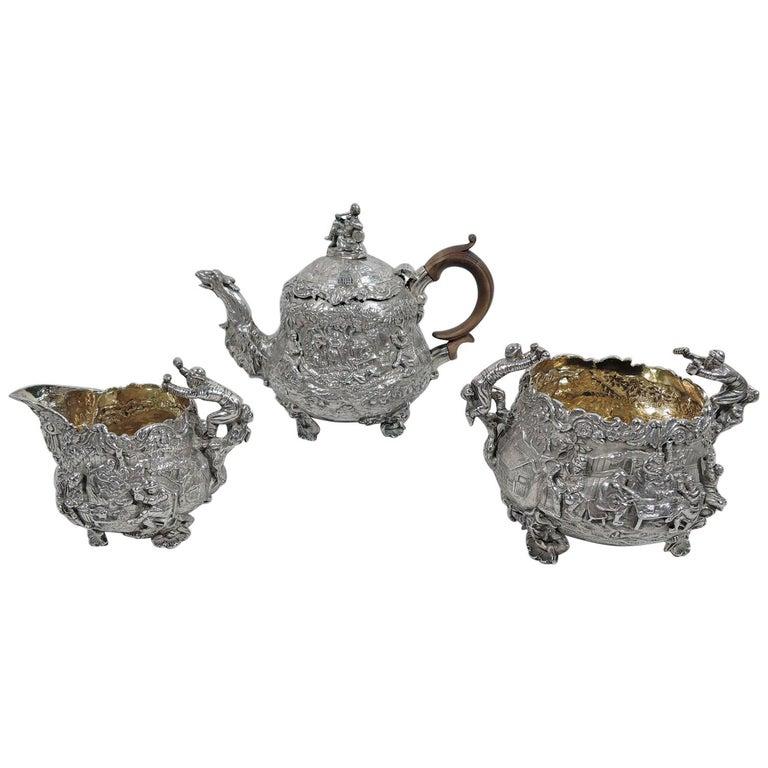 English Georgian Regency Teniers Tea Set by Edward Farrell For Sale