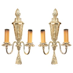 English Georgian Silver Plate Wall Sconces