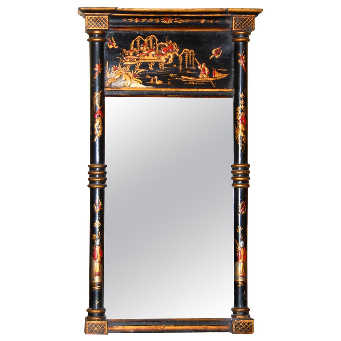 English Georgian Small Chinoiserie Decorated Mirror