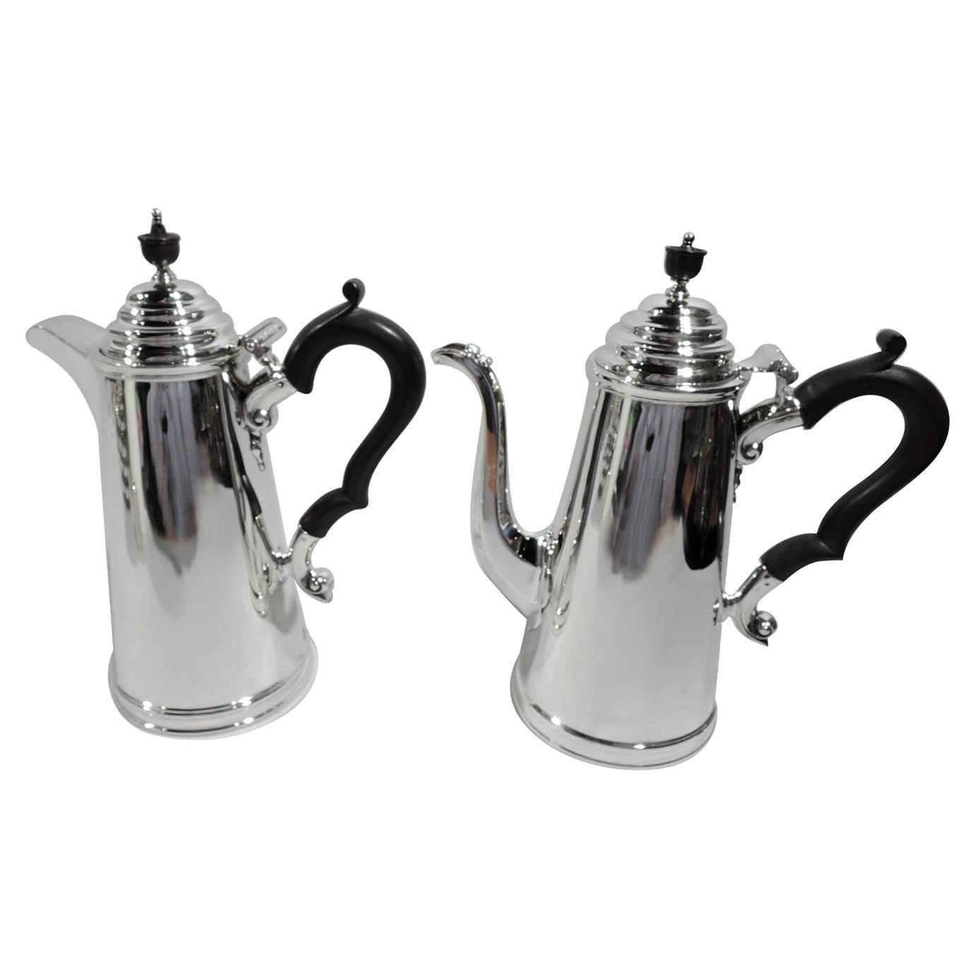 English Georgian Sterling Silver After Dinner Café au Lait Pots