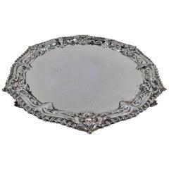 English Georgian Sterling Silver Salver by Ebenezer Coker