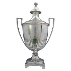 English Georgian Sterling Silver Samovar with Coat of Arms Dogs Flowers '#4051'