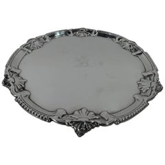English Georgian Sterling Silver Shell Salver Tray with Armorial