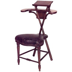 English Georgian Style '19th Century' Thomas Jefferson Walnut Reading Chair