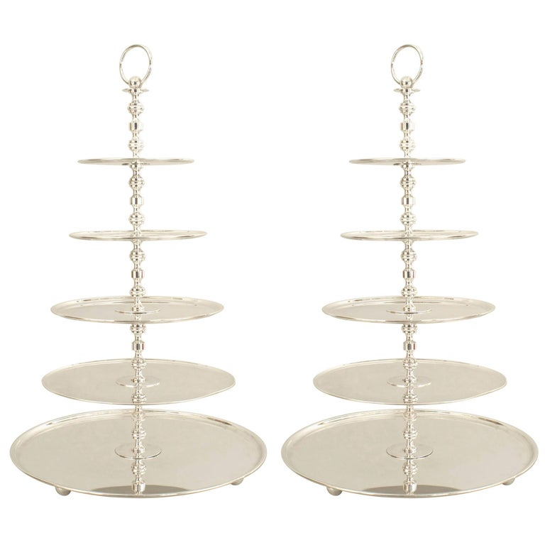English Georgian Style '20th Century' Silver Plate Five-Tier Cake Epergne, Pair For Sale
