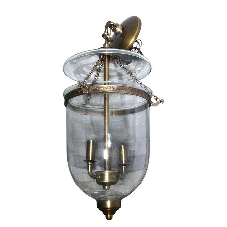 English Georgian Style Bell Jar Hanging Hall Lantern For Sale